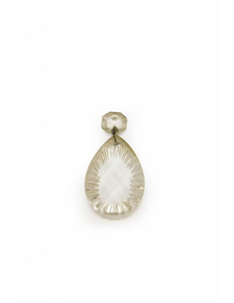 Chandelier tear, beautifully cut, faceted with notches on the edges