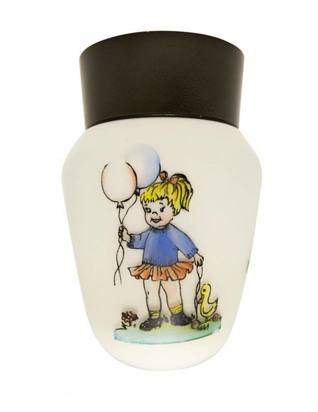 Vintage children's lamp with a picture of a girl with balloons, 1960s