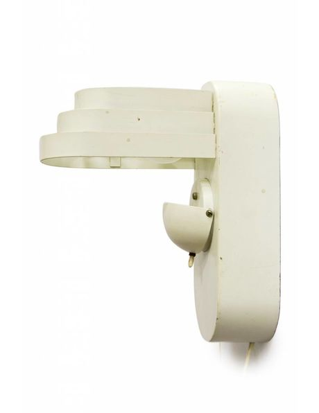 White metal wall lamp, design lighting, 2 light points that can be switched independently of each other, 1950s