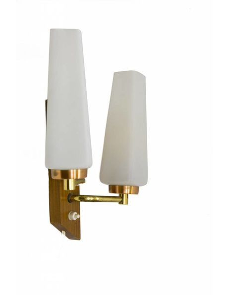 Vintage wall lamp as 2 torches, wood fixture with 2 narrow milk glass shades