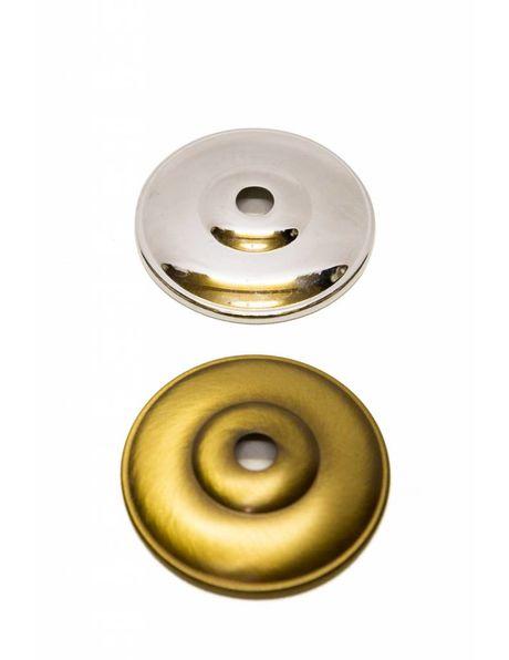 Glimmend chroom afdekplaatje, diameter 6.5 cm, interne uitsparing 1 cm