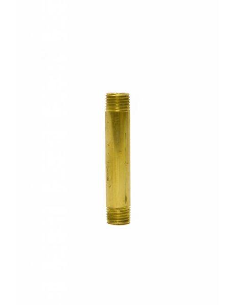 Brass tube (pipe), height: 5.0 cm (= 2.0  inch) diameter: 1.0 cm (= 0.4 inch), screw thread x 1