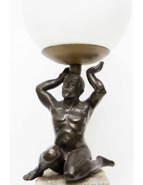 Antique table lamp, marble base with a statue of a man carrying light, 1930s