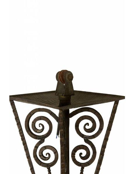 Art Deco Hanglamp uit 1930, zwart metaal met dikke matglazen kap