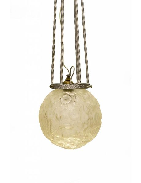 Antique Art Deco hanging lamp, small pressed glass sphere with butterflies on a metal fixture
