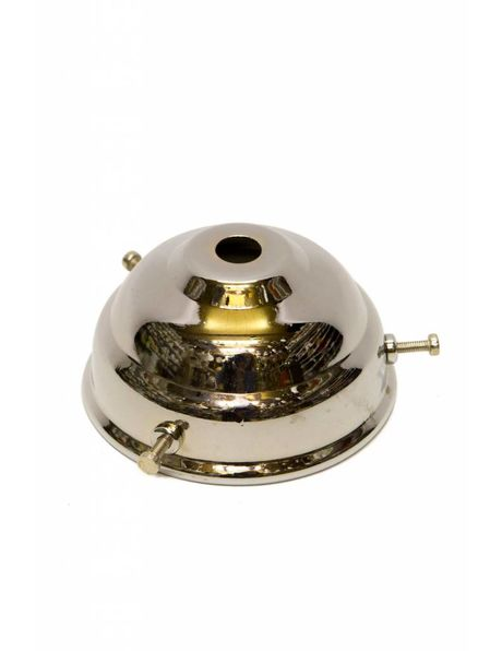 Zilverkleurige glasdrager voor losse lampenkappen met drie schroefjes