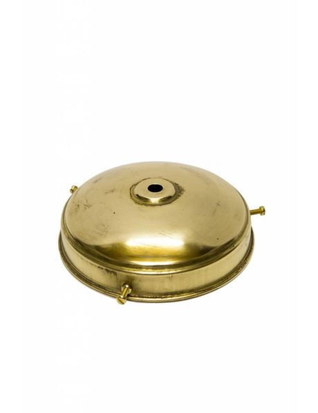 Goudkleurige glasdrager van koper, antiek model, klein kapje met 3 schroefjes