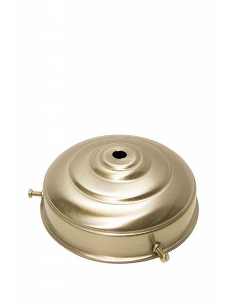 Lamp Glass Holder, matt nickel, flat sphere, 11 cm / 4.3 inch diameter