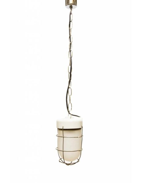 Industrial cage lamp, old hanging lamp on chain with porcelain fixture, 1950s