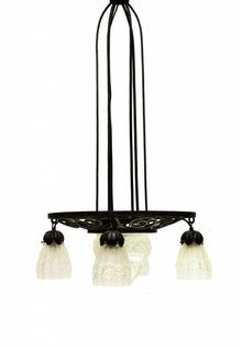 Degue Art Deco Pendant Lamp, Pressed Glass, Degue Style, 1910s