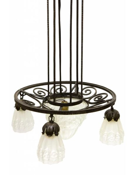 Large antique pendant lamp, Degue style, black metal with pressed glass shades