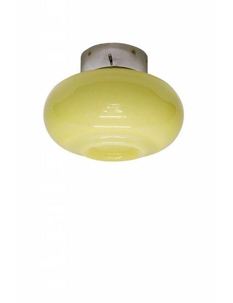 Opaalglazen plafondlamp uit voormalig hotel in Duitsland, creme kleurig glas met zilverkleurig armatuur