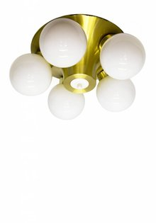 Vintage Ceiling Lamp, 5 White Glass Spheres