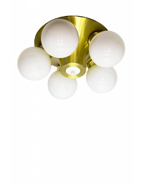 Unique 1950s ceiling lamp, 5 white spheres, gold-coloured frame
