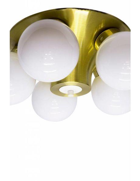 Unieke Jaren 50 Plafonniere, 5 witte bollen, goudkleurig frame