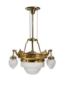Grote Koperen Hanglamp met Glazen Kappen