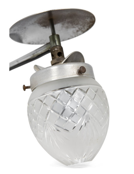 Industrial wall lamp, metal with cut glass, ca. 1930