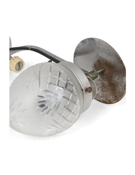 Industriele wandlamp, metaal met geslepen glas, ca. 1930