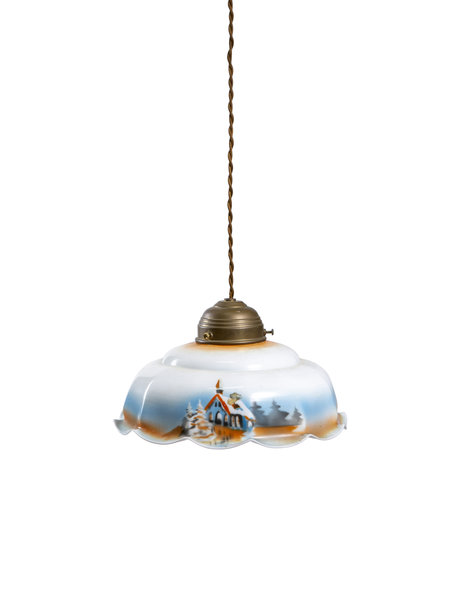 Pendant lamp with glass lampshade with snowy landscape, ca. 1930