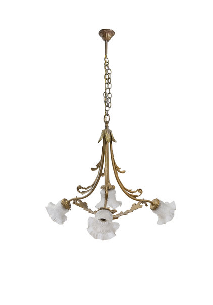 Hanging Lamp with Four Glass Shades