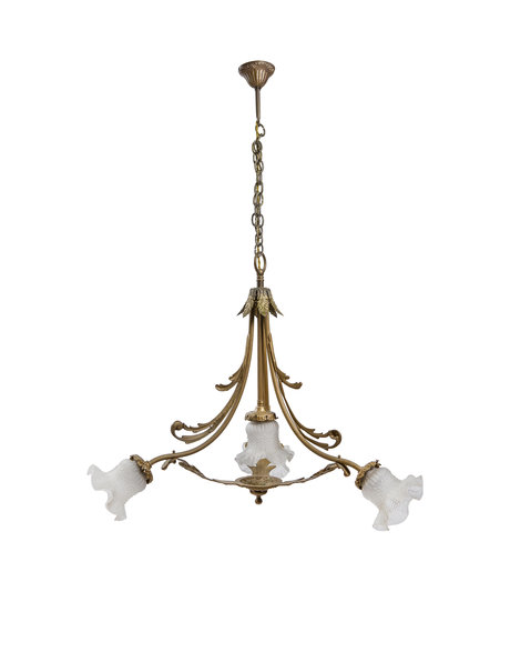 Dining table hanging lamp, four glass shades on gold copper, ca. 1930