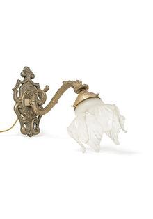 Klassieke Wandlamp, Koper Armatuur met Glas