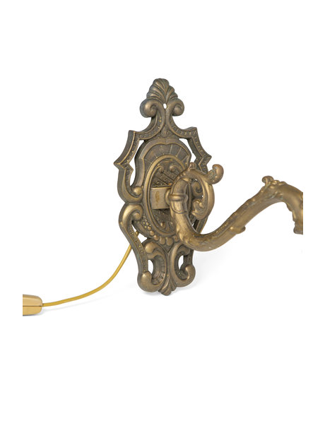 Antique wall lamp, curled copper fixture with glass shade, 1940s