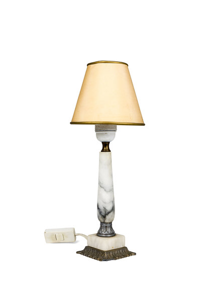 Vintage Tafellampje, Marmer Voetje, Kunststof Kap, Jaren 60