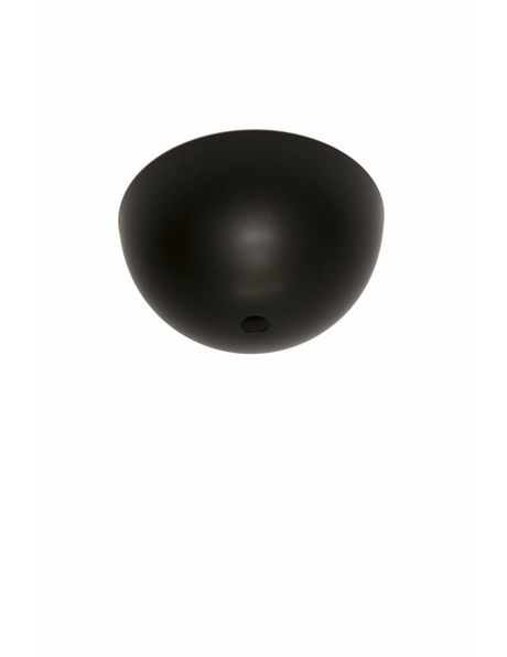 Black ceiling plate, matt black, half metal ball