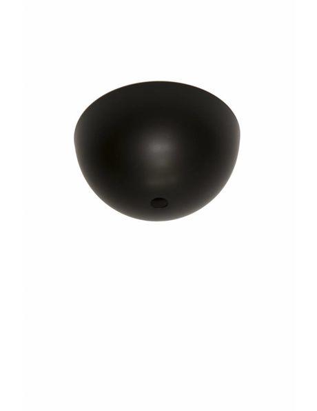 Zwarte Plafondkap, mat zwart, halve metalen bol