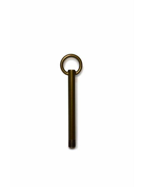 Stelpijp van 12 cm, gepatineerd koper met schroefdraad van 1,0 cm (M10)
