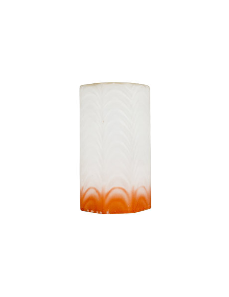 Cylindrical lampshade of frosted glass with orange rim, 1950s