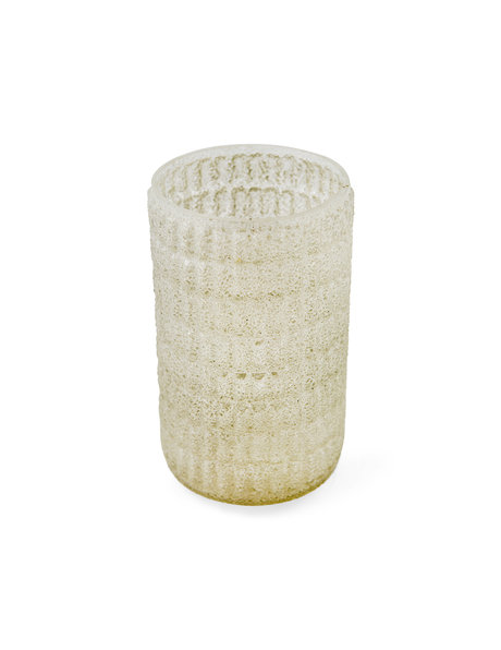 Cylindrical glass lampshade with small compartments