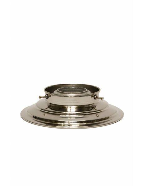 Plafonniere ring, gepolijst nikkel, lampglas met opstaande rand met diameter van 8 cm