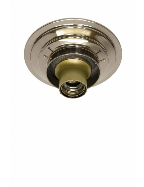 Ceiling Lamp Ring, Polished Nickel, Lamp Glass with Raised Edge with a Diameter of 8 cm / 3.15 inch