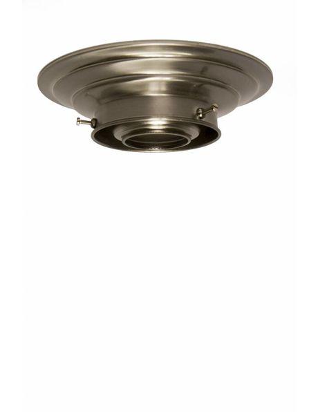 Plafonniere ring mat nikkel voor lampglas met opstaande rand met diameter van 8 cm