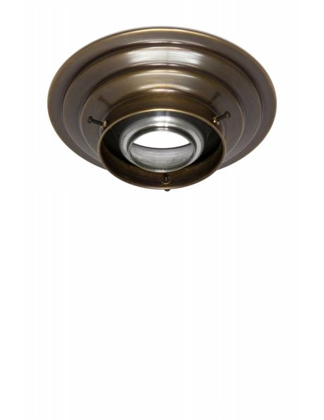 Ceiling lamp ring, patinated copper, for lamp glasses with a raised edge with a maximum diameter of 8.2 cm /  3.2 inch