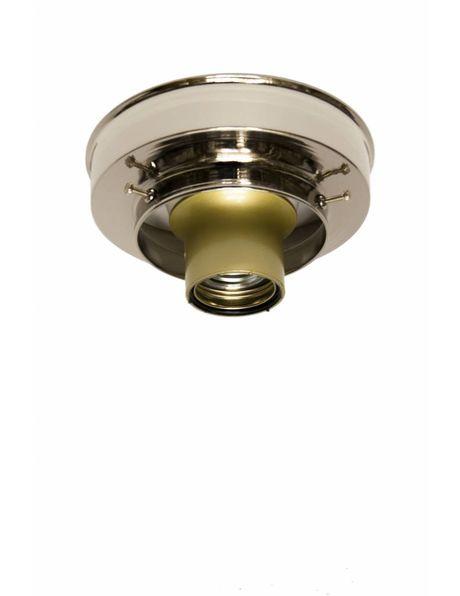 Plafond ring, glans nikkel, strak model, voor lampglazen met opstaande rand van 8 cm diameter