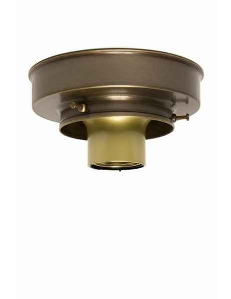 Plafondring, gepatineerd koper, voor lampglazen met opstaande rand waarvan diameter maximaal 8 cm