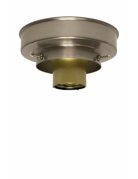 Plafondring, mat nikkel, strakke vorm, opstaande rand plafondlamp glas maximaal 8 cm