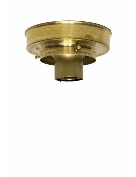 Plafonniere ring, goud messing, strakke vorm, voor lampglazen met opstaande rand van 8 cm diameter