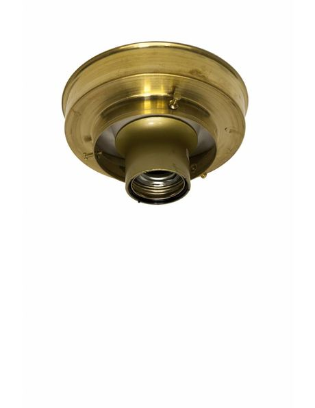 Ceiling lamp ring, gold brass, sleek shape, for lamp glasses with raised edge of 8 cm / 3.15 inch diameter