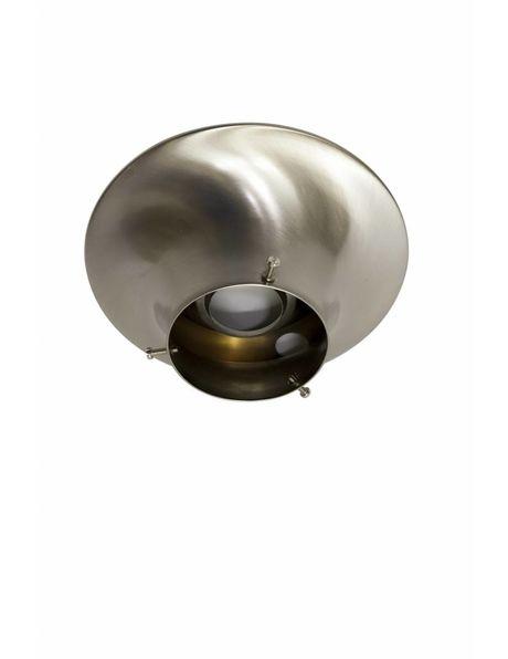 Plafonniere ring, mat nikkel, voor lampglazen met opstaande rand van 10 cm diameter