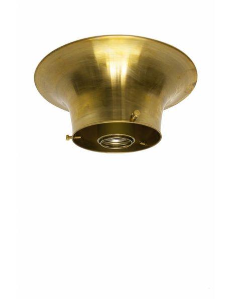 Plafond ring, ongepolijst messing, voor lampglas met opstaande rand waarvan diameter maximaal 10 cm is
