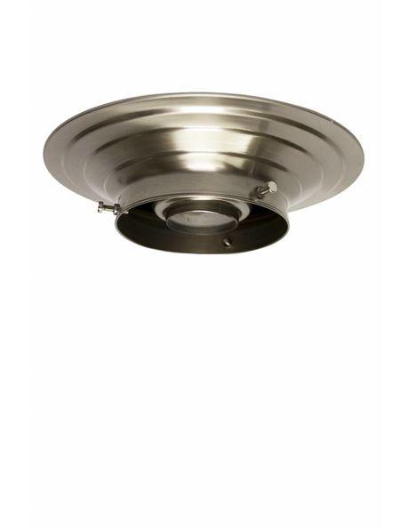 Plafond ring, mat nikkel, diameter opstaande rand lampglas maximaal 10 cm