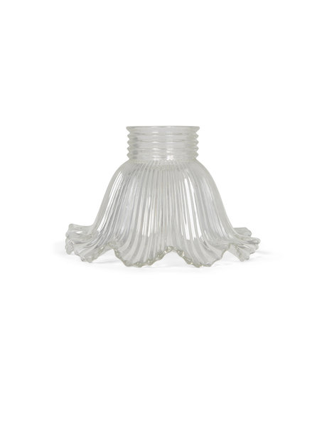 Glass lampshade made of thick ribbed glass