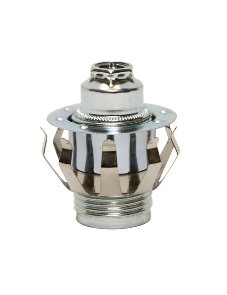 Spring to Clamp Lamp Shade, screw thread for E14 fitting, chrome