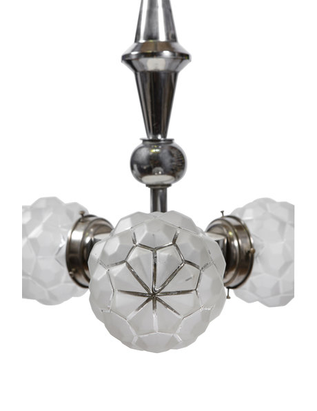 Art Nouveau pendant lamp, robust fixture with 3 glass lampshades, ca. 1930
