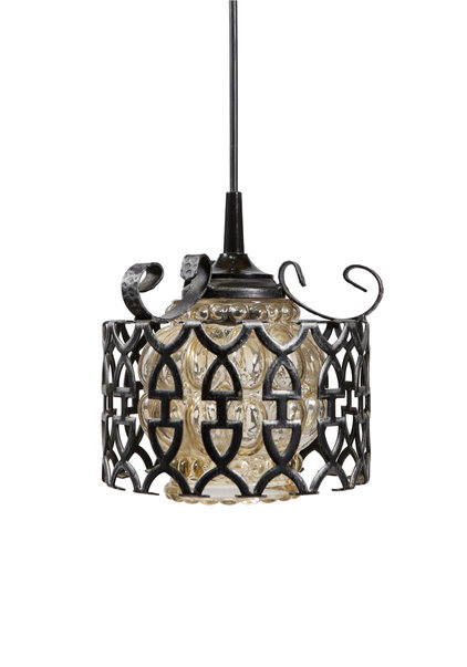 Vintage Hanging Lamp, Glass in Cage