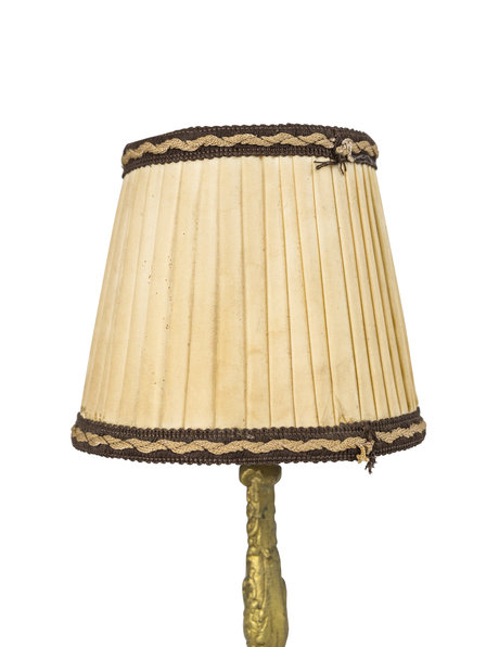 Classic table lamp with fabric shade and copper base